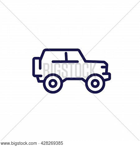 Off-road Car, 4wd Truck Line Icon, Vector