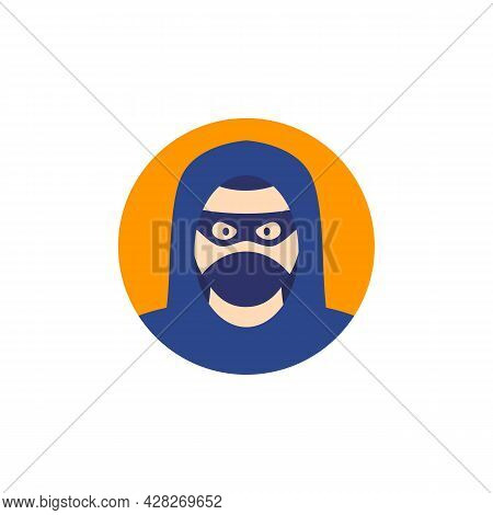 Criminal, Thief Or Robber Icon, Flat Vector