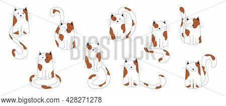 Big Set Of Sitting Spotted Cats, With Long Tails. Kittens Characters, Cute Pets, Can Be Used As Elem