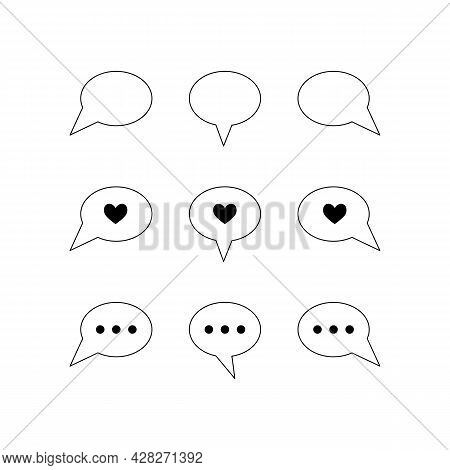 Simple Set Of Bubble Talk Chat Line Icons. Contour Signs, Symbols And Buttons For Online Communicati