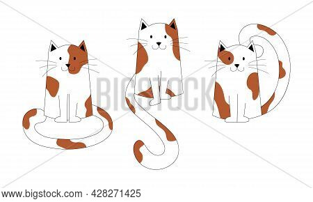 Set Of Cute Spotted Cats Sitting, With Long Tails. Kittens Characters, Cute Pets, Can Be Used As Ele