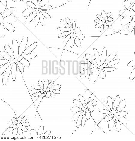 Seamless Pattern In Line Art Style, With Linear Daisies Minimalistic Texture With Simple Flowers. Ab