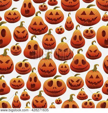 Halloween Pumpkins Set, Funny Faces. Pumpkin Pattern. Jack-o-lantern Facial Expressions. Vector Illu