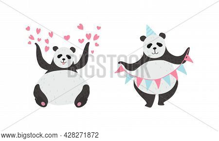 Panda Bear With Black-and-white Coat And Rotund Body Holding Garland And Sitting With Raised Paws Ve