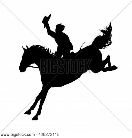 Rodeo Cowboy Rider Riding Kicking Untamed Horse - Wild West Mustang Busting Black And White Vector S