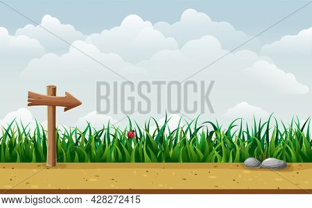 Seamless Nature Landscape With Wooden Guidepost. Endless Parallax Game Background With Signpost In G