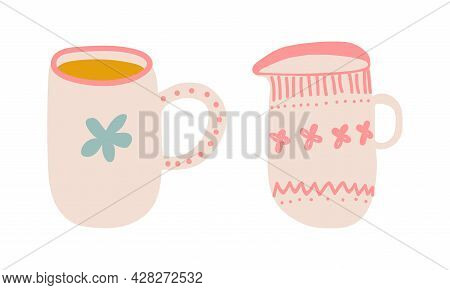 Cute Hand Drawn Cup Or Mug For Drinking Tea Vector Set