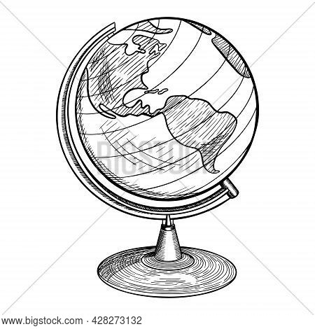 Hand Drawn Standing Globe With South And North America. Vintage Sketch On White Background. Vector I