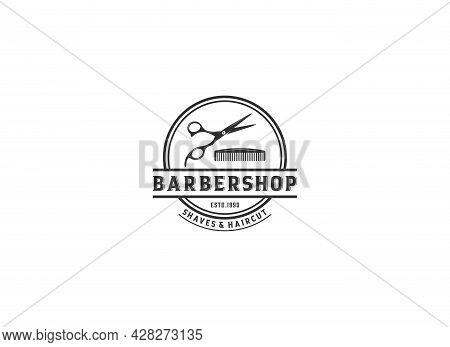 Barbershop Logo Vector Design Barbershop In White Background