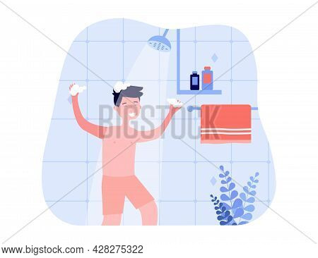 Happy Boy In Shorts Washing Hair In Shower. Kid With Soapy Hands Using Shampoo In Bathroom Flat Vect