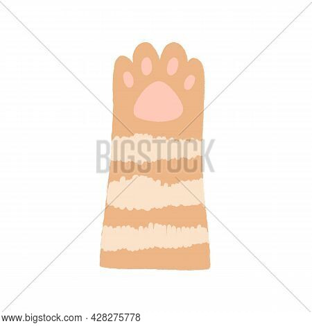 Cute Tabby Cats Paw With Soft Gentle Pads. Feline Animals Hand Raised Up, Gesturing Hi. Adorable Lov