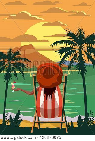 Woman Lying On Deck Chair With Cocktail In Hand, Resort Tropical Coast. Exotic Sea Ocean Sunset Shor
