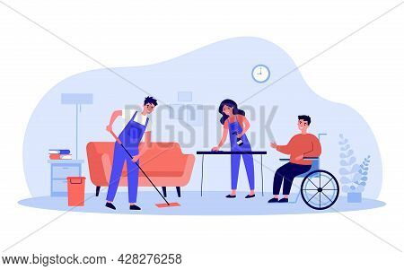 Disabled Person In Wheelchair Using Services Of Cleaning Company. Flat Vector Illustration. People I