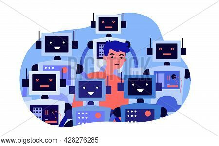 Young Man Standing In Crowd Of Robots. Flat Vector Illustration. Man Surrounded By Smart Robots With