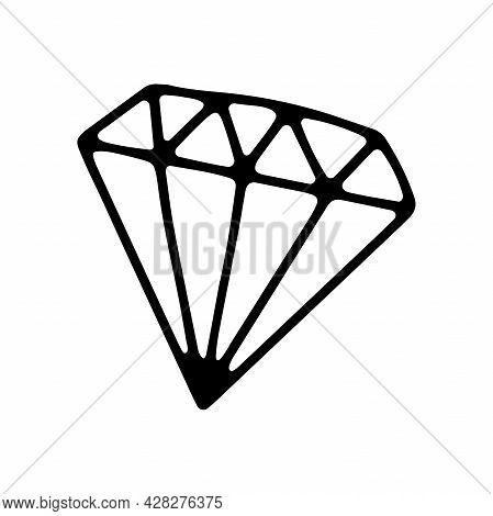 Doodle Diamond. A Hand-drawn Jewelry Brilliant Gemstone Isolated On White Background. Outline Stone