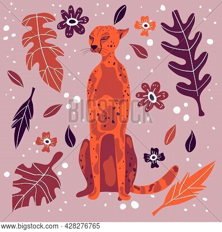 Cute Cheetah Hand Drawn Flat Vector Illustration. Funny Exotic Animal With Leaves And Flowers Isolat