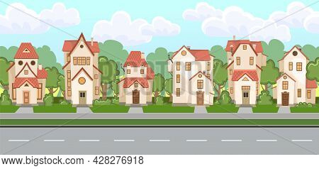 Street. Cartoon Houses With A Road. Road Markings. Village Or Town. Seamless. A Beautiful, Cozy Coun