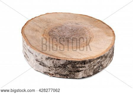 Birch Cut Large And Darkened Isolated On White.