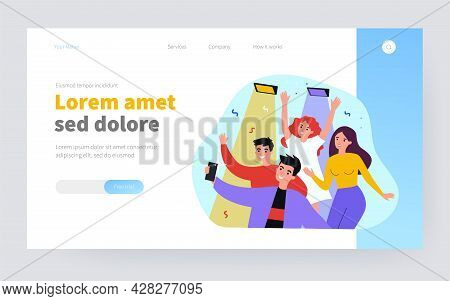 Cheerful People Making Selfie On Smartphone During Party Isolated Flat Vector Illustration. Cartoon