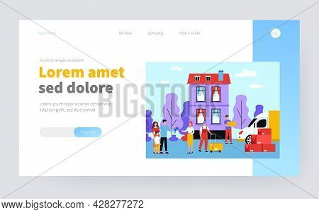 Happy Family Moving Into New House Flat Vector Illustration. Cartoon Men Unloading Things And Furnit