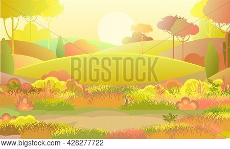 Autumn Rural Beautiful Landscape. Meadow With Glade. Cartoon Style. Hills With Grass And Red Trees.