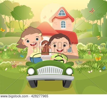 Kids Goes On Adventure In Little Car. Kid Drives Pedal Or Toy Electric Car. Cartoon Illustration For