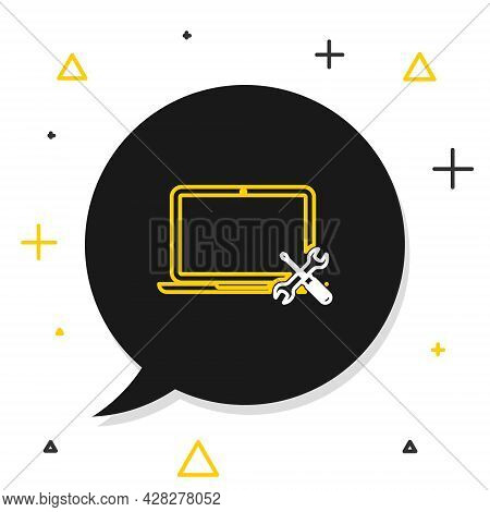 Line Laptop With Screwdriver And Wrench Icon Isolated On White Background. Adjusting, Service, Setti