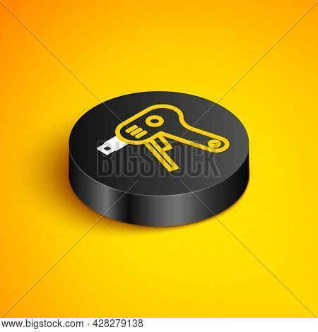Isometric Line Electric Hot Glue Gun Icon Isolated On Yellow Background. Hot Pistol Glue. Hot Repair