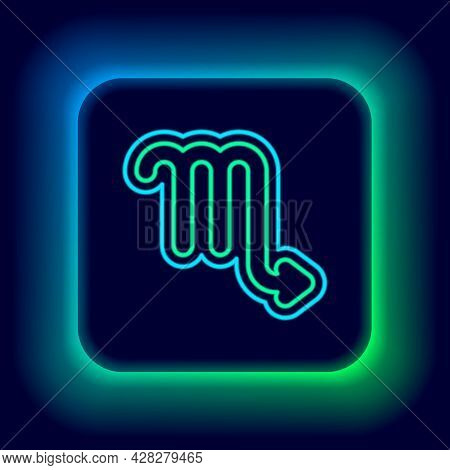 Glowing Neon Line Scorpio Zodiac Sign Icon Isolated On Black Background. Astrological Horoscope Coll