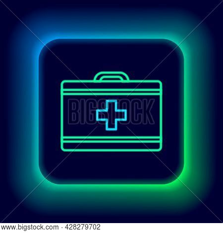 Glowing Neon Line First Aid Kit Icon Isolated On Black Background. Medical Box With Cross. Medical E