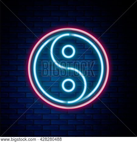 Glowing Neon Line Yin Yang Symbol Of Harmony And Balance Icon Isolated On Brick Wall Background. Col