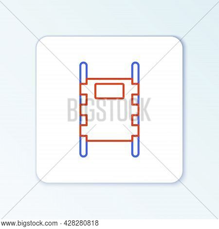 Line Stretcher Icon Isolated On White Background. Patient Hospital Medical Stretcher. Colorful Outli