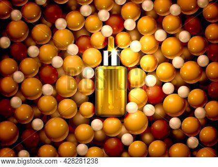 Serum Oil Product, Medical Aroma Extract, Nature Essence. Vector