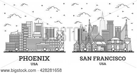 Outline San Francisco California and Phoenix Arizona USA City Skyline Set with Modern Buildings Isolated on White. Cityscape with Landmarks.