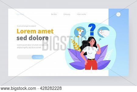 Woman Choosing Between Cat And Dog. Thought Bubble, Choice, Dilemma Flat Vector Illustration. Pet Ad