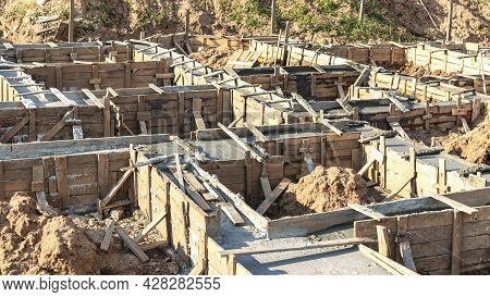 Strip Foundations With Formwork During The Construction Of A House. Reliable Reinforced Concrete Fou