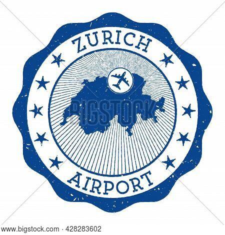 Zurich Airport Stamp. Airport Of Zurich Round Logo With Location On Switzerland Map Marked By Airpla