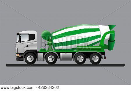 Concrete Mixer Truck. Construction Vehicle Equipment. Flat Vector Illustration.
