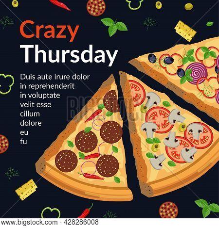 Crazy Thursday Pizza Italian Cuisine Promo Banner