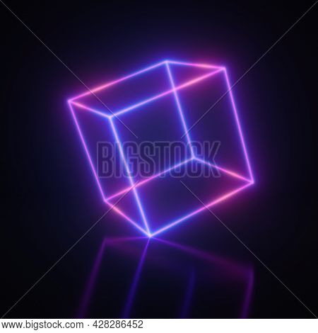 Bright neon cube, blue and violet colors, 3D illustration, rendering.
