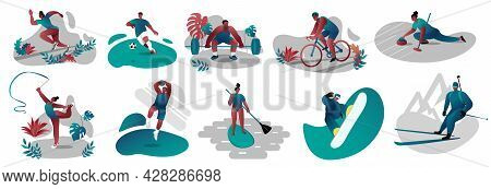 A Set Of Vectors With Different Sports. Gymnastics, Running, Snowboarding, Snowboarding, Cycling, Bi