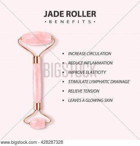Vector 3d Realistic Gua Sha, Jade Roller, Scraping Massage Tool. Benefits, Parts, Instruction, Infog