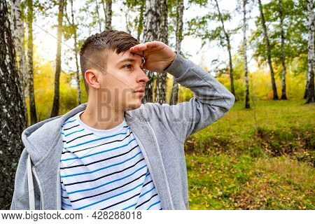 Lost Young Man In The Forest Alone
