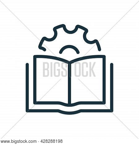 User Manual Document Line Icon. Technical Guide Book Linear Pictogram. Customer Guide, Technical Doc
