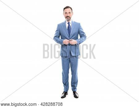 Smiling Grizzled Boss In Businesslike Suit Full Length Isolated On White, Business Person