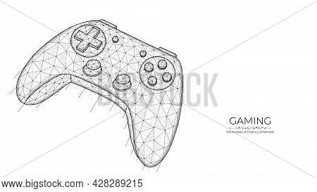 Gaming Concept. Joystick For Video Games Low Poly Design. Polygonal Vector Illustration Of A Game Co