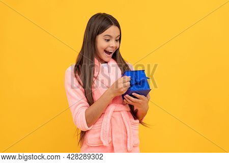 Surprised Teen Girl In Home Terry Bathrobe Open Gift Or Present Box, Surprise