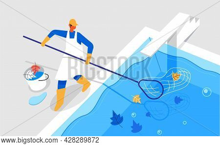 Pool Cleaner Cleaning Pool Dust Illustration Concept Vector