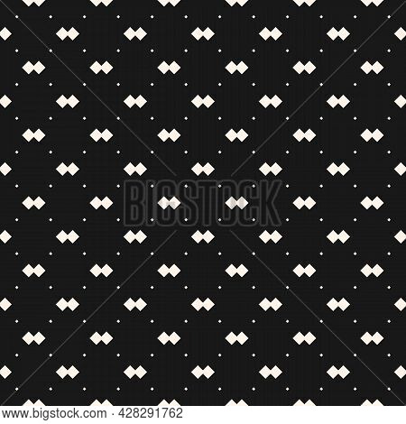 Vector Geometric Texture With Small Diamond Shapes, Tiny Rhombuses, Squares, Dots, Grid. Abstract Mi