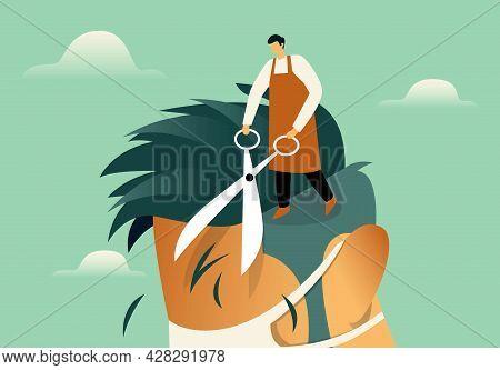 Hairdresser Cutting Hair Flat Illustration Concept Vector